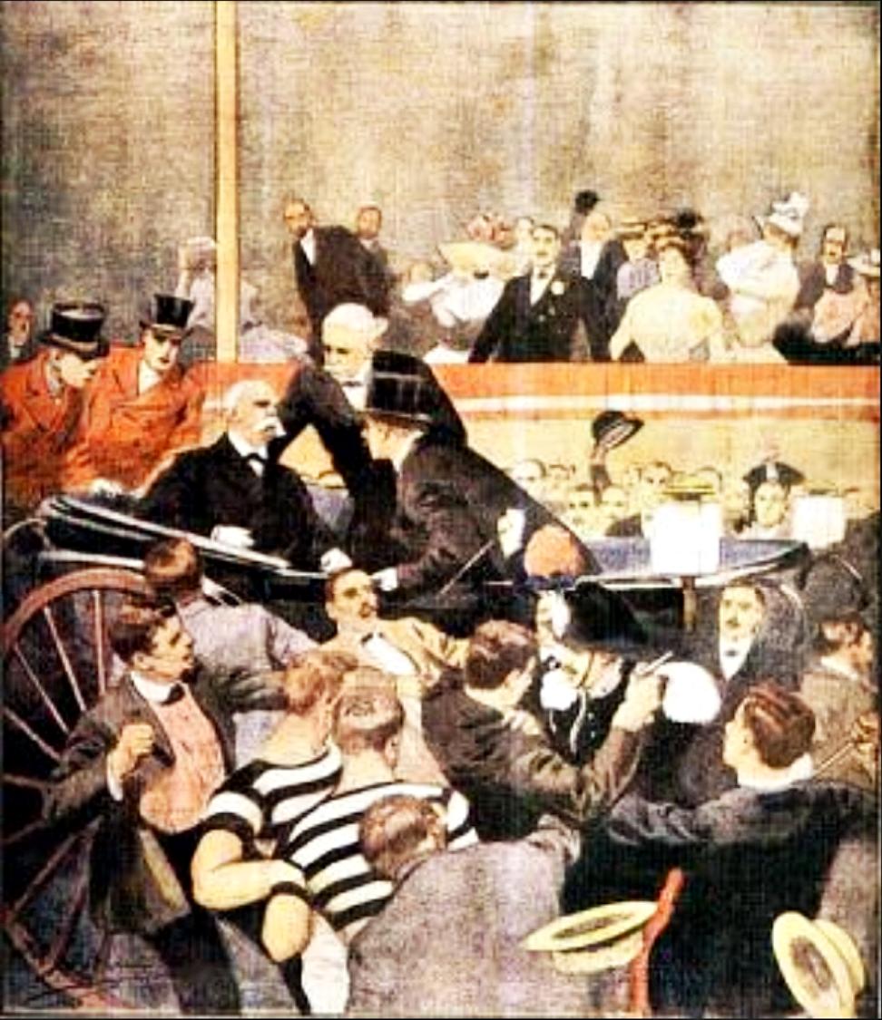 L'assassinio del Re Umberto I illustrato da Achille Beltrame.