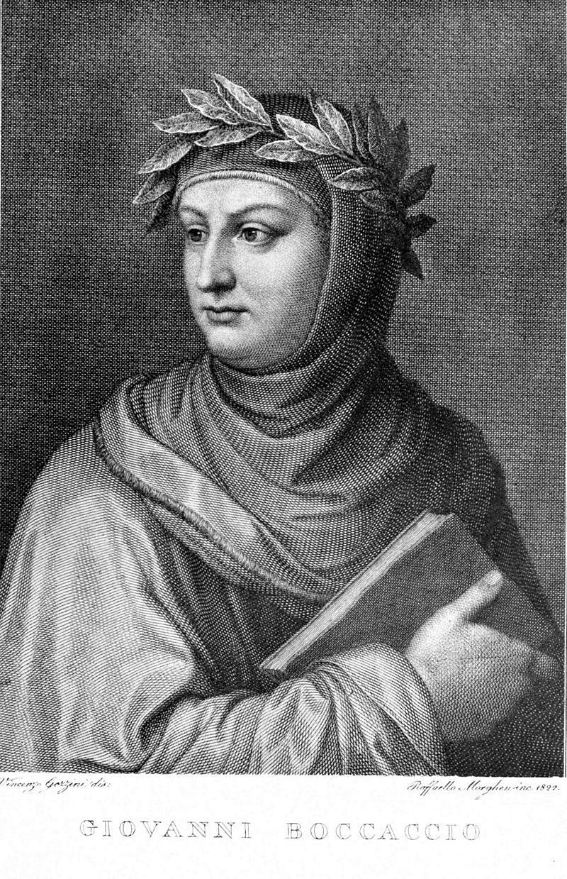Il ritratto di Giovanni Boccaccio in una incisione del 1822.