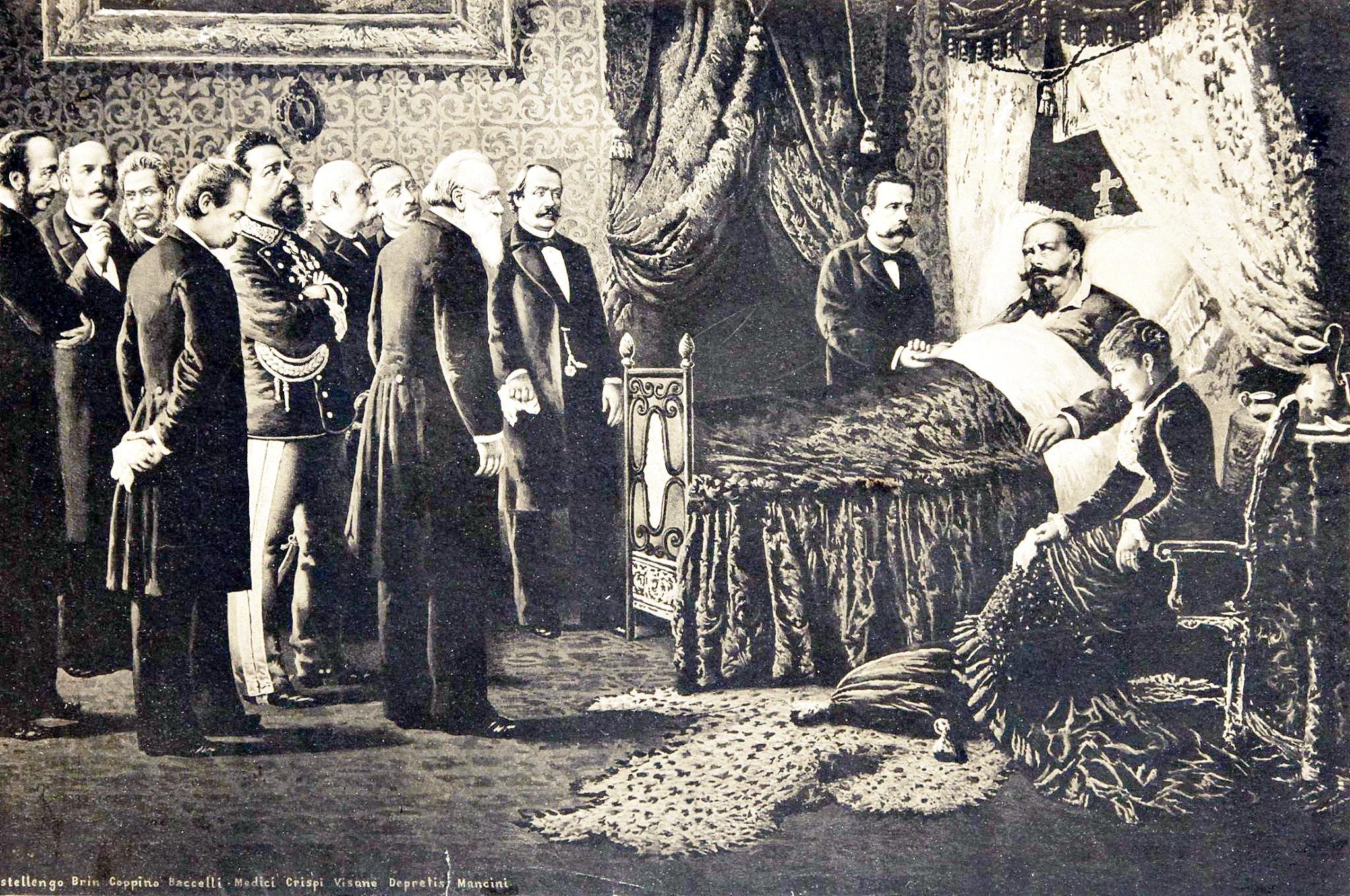 Gli ultimi momenti di Vittorio Emanuele II in una litografia del 1878.