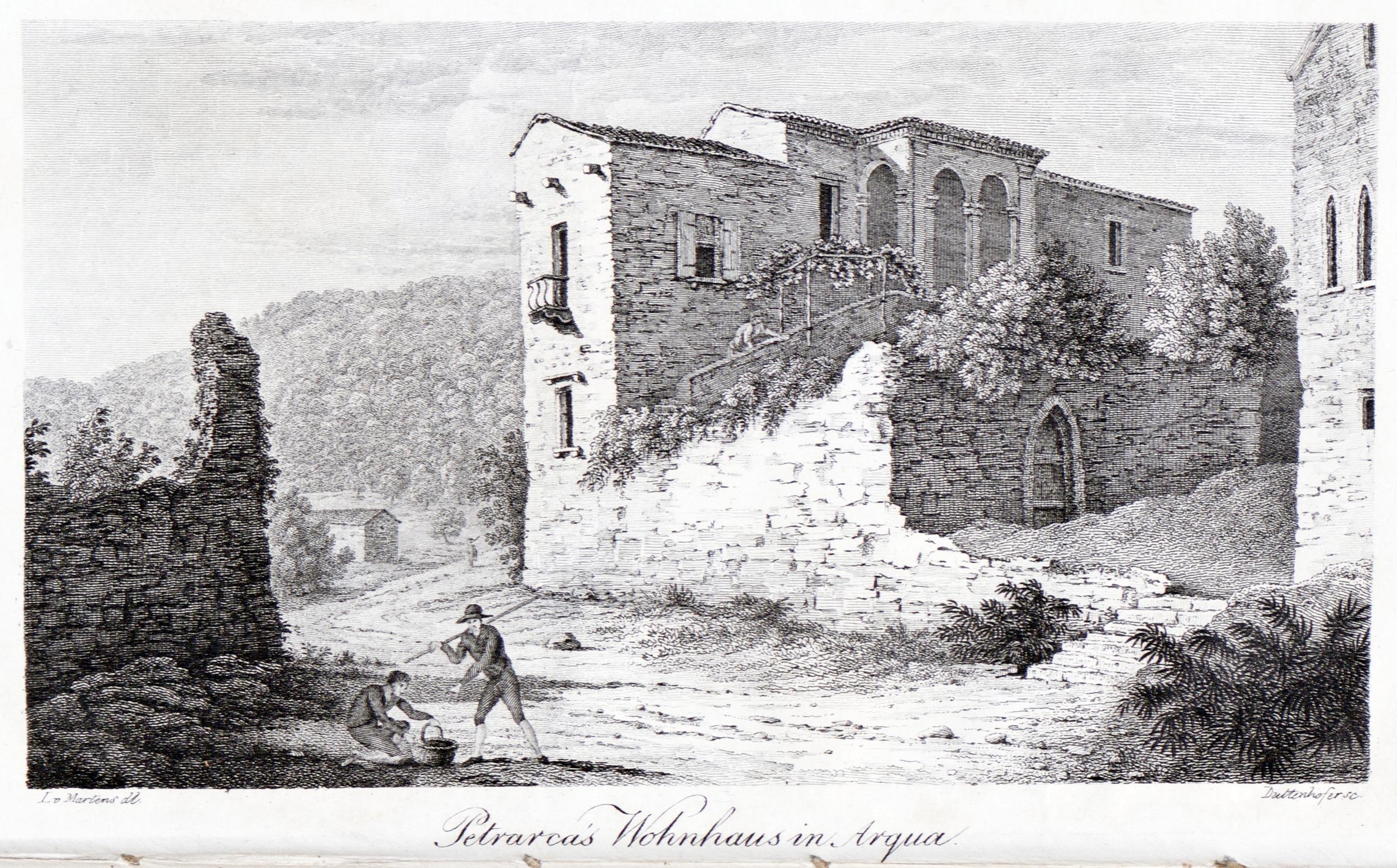 La casa del Petrarca ad Arquà in una incisione del 1824.