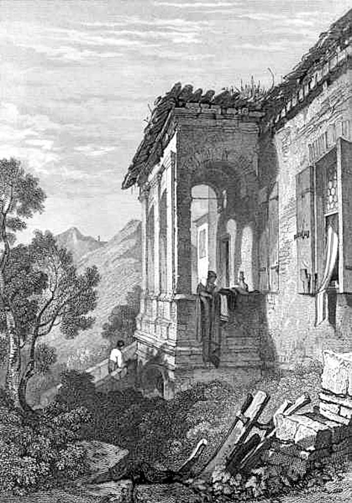La casa di Petrarca ad Arquà in una incisione del 1831.