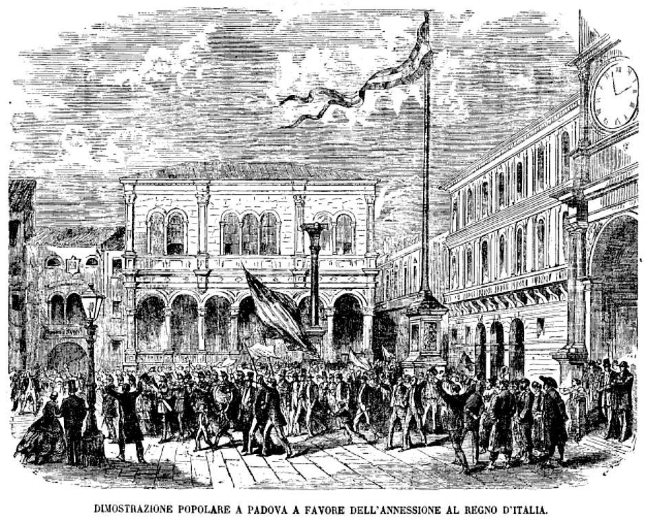 Padova, 1866. Dimostrazione a favore dell'annessione al Regno d'Italia.