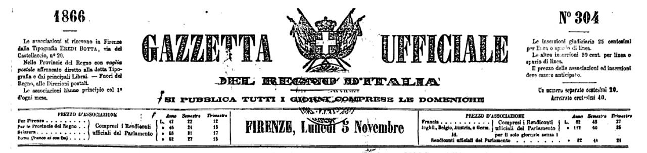 Testata della Gazzetta Ufficiale del Regno d'Italia del 5 novembre 1866.