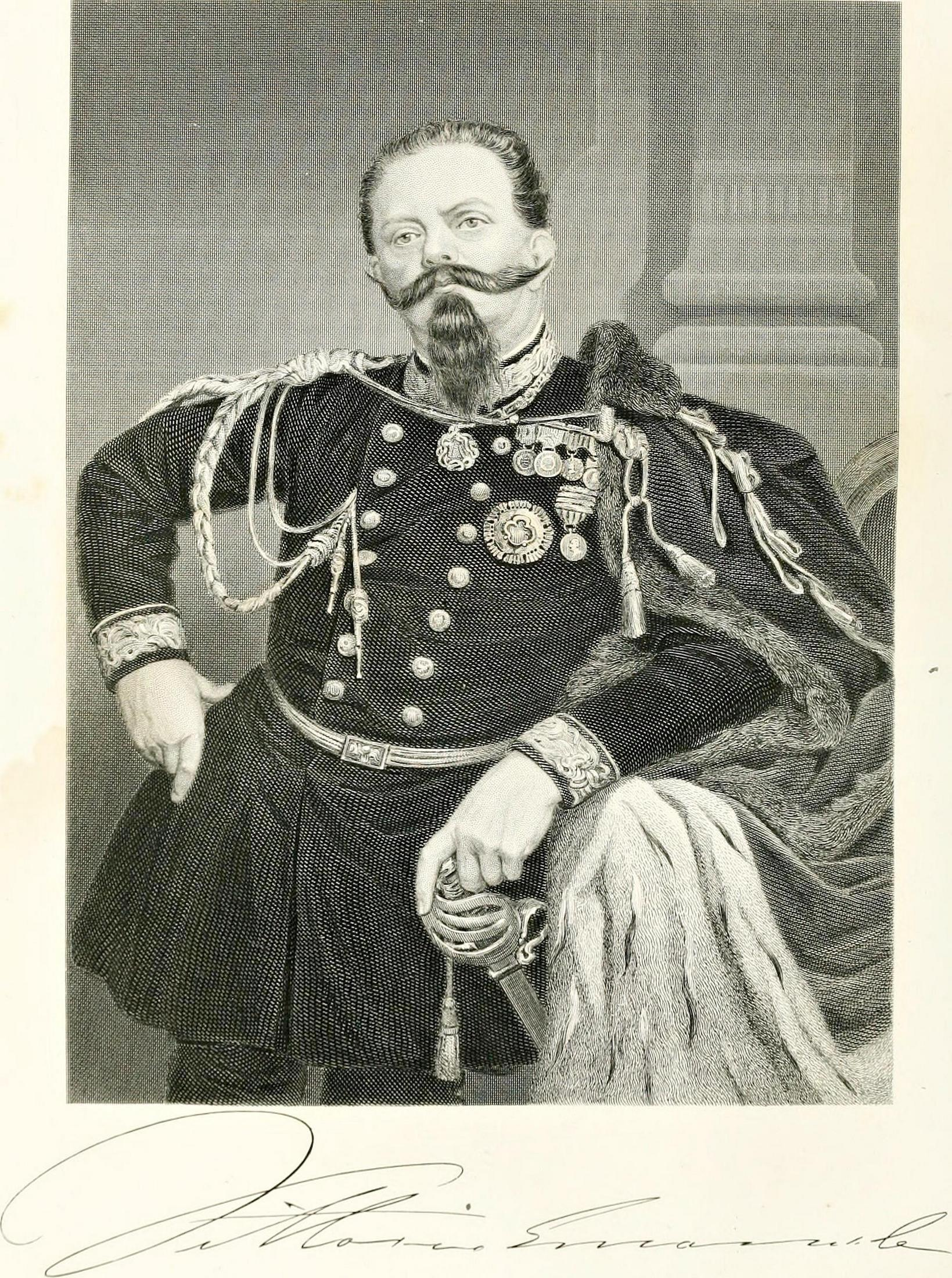Il Re d'Italia Vittorio Emanuele II in una incisione del 1872.