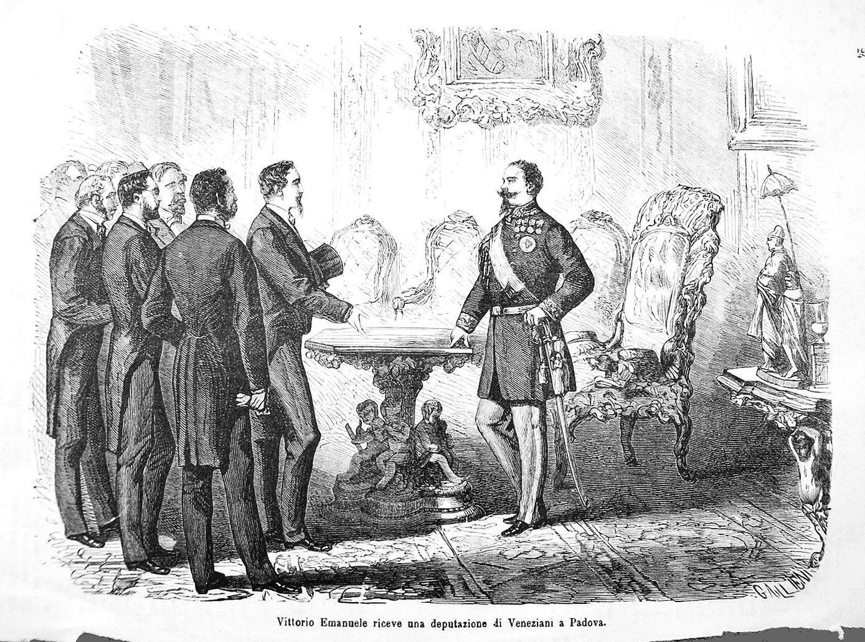 Padova, 1866. Vittorio Emanuele II riceve una deputazione di Veneziani.