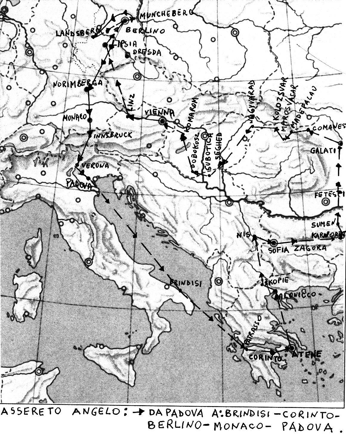 Il percorso seguito da Angelo Assereto durante la seconda guerra mondiale, dal 21-8-1939 al 16-10-1945.