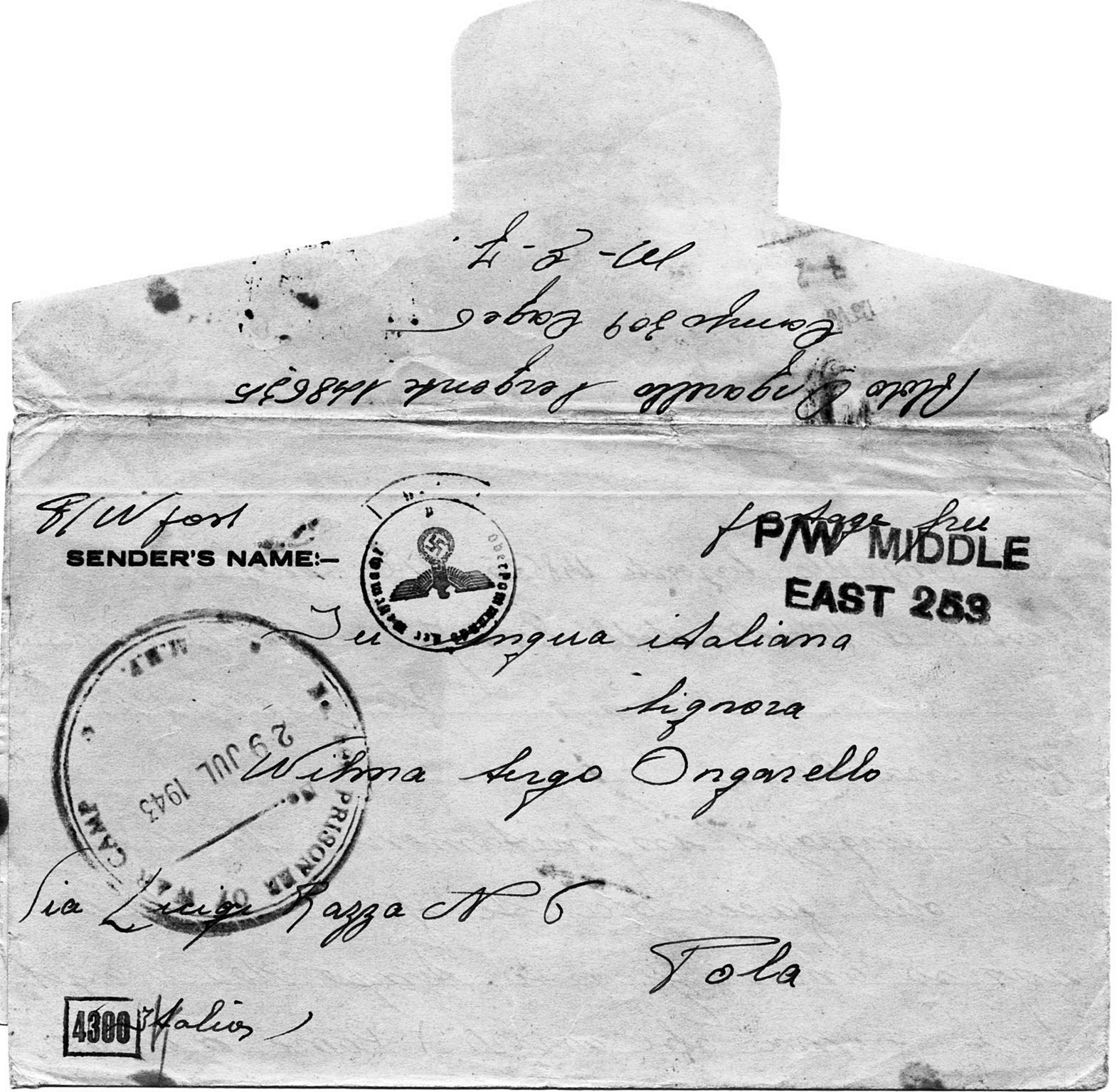 1943, lettera di Aldo Ongarello alla moglie dal Campo di prigionia inglese.