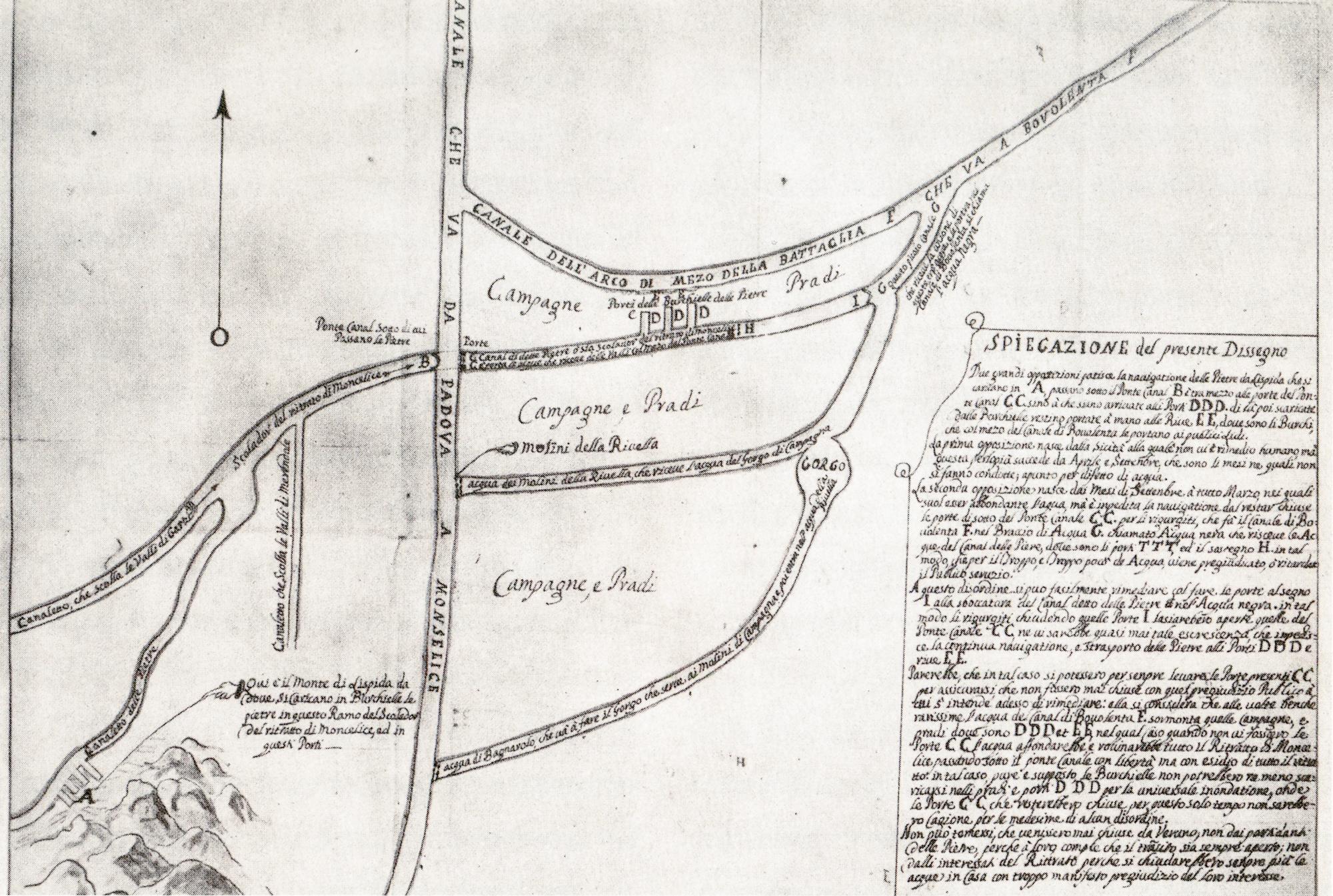 Incroci idraulici tra Battaglia e Monselice in un disegno del 1725.