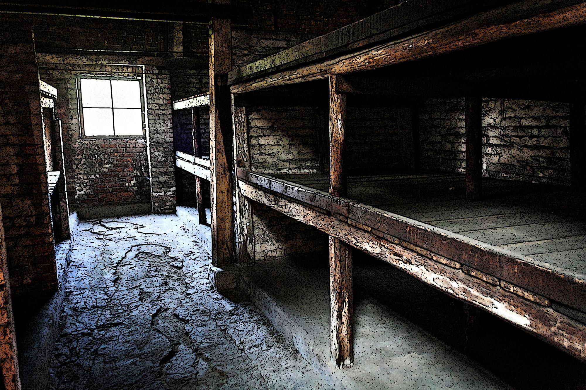 Interno di una delle baracche di Auschwitz.