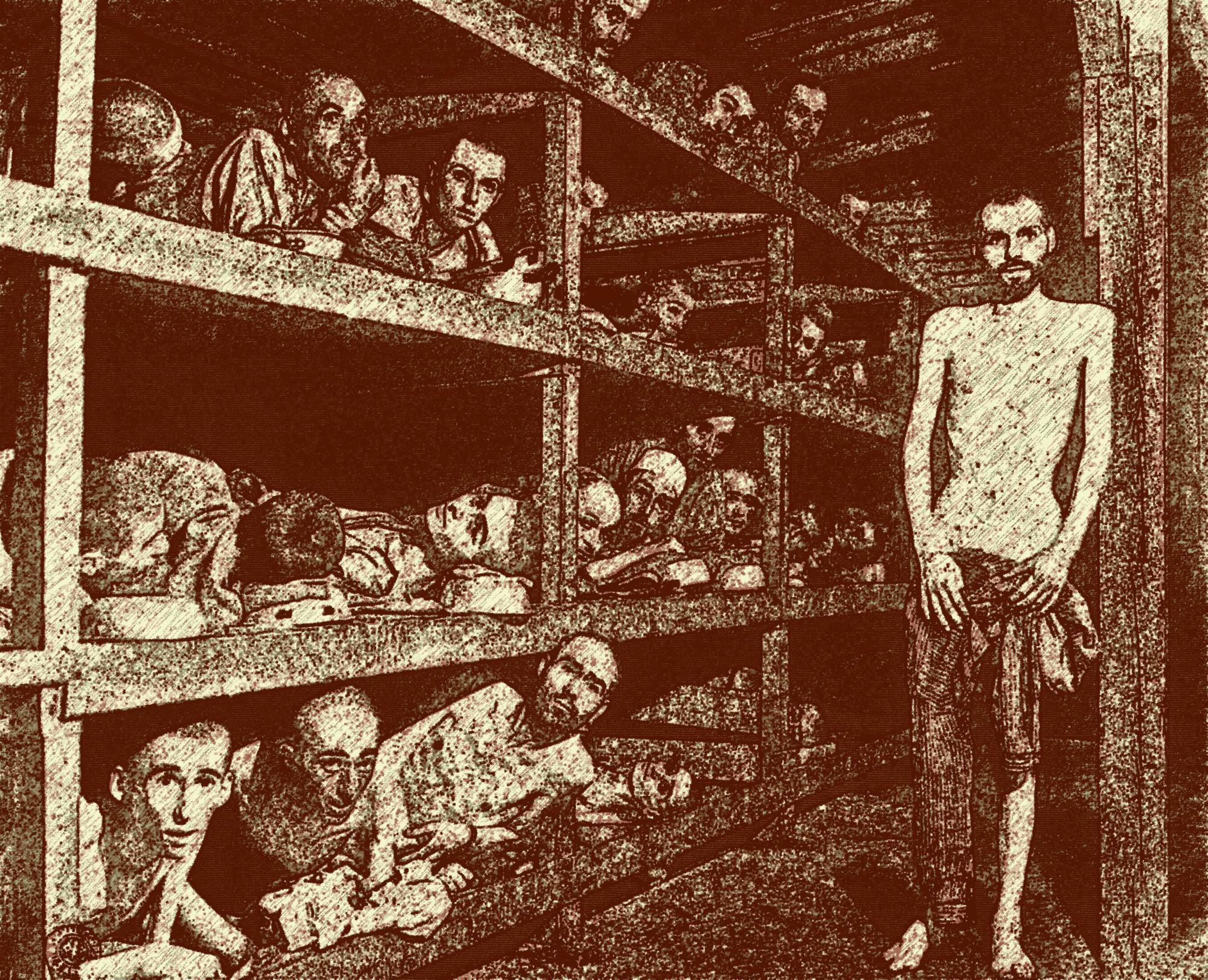 Campo di concentramento di Buchenwald, prigionieri all'interno di una baracca.