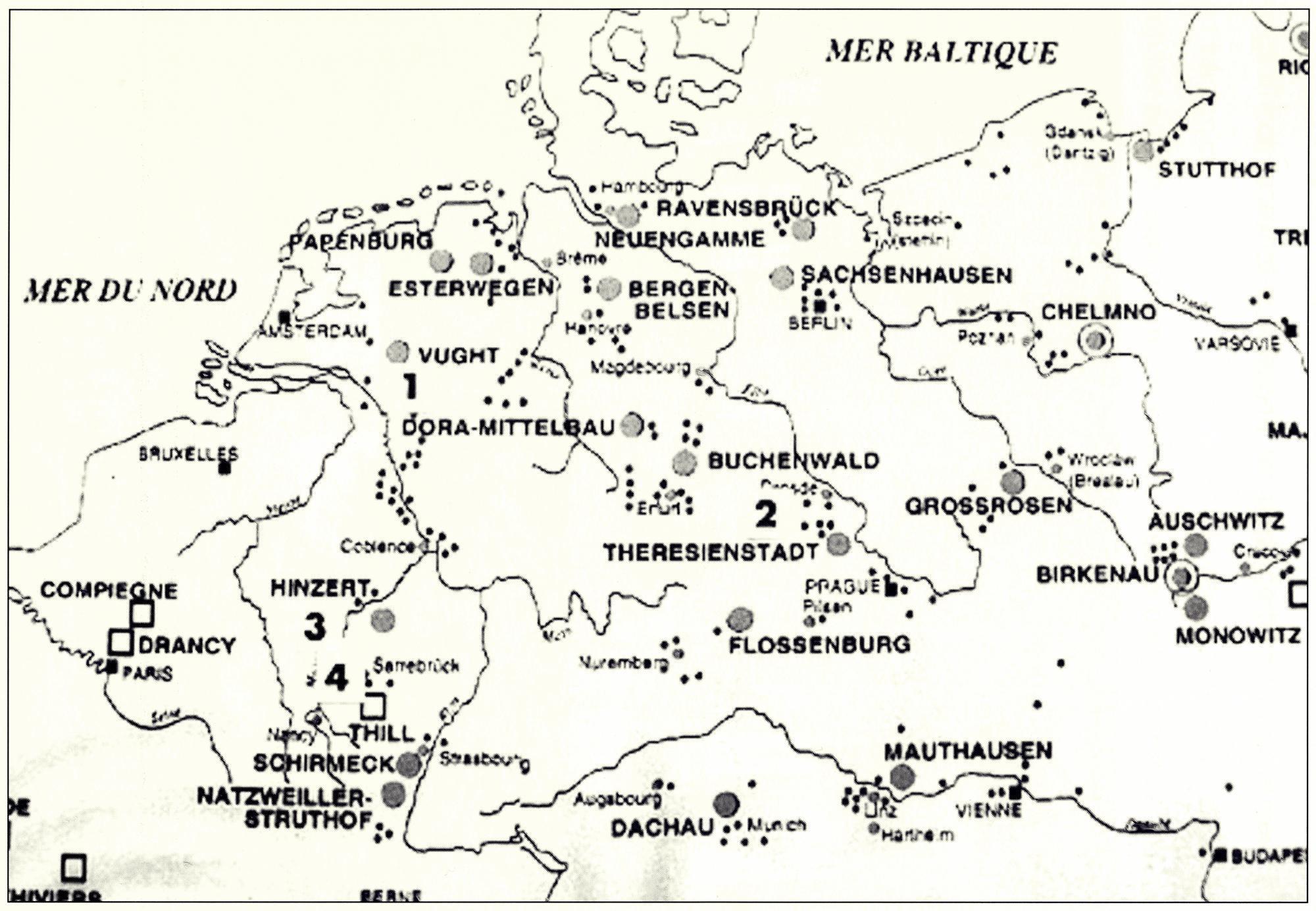 Cartina con i probabili spostamenti dei soldati Bertazzo e Piovan durante la loro prigionia in Germania.