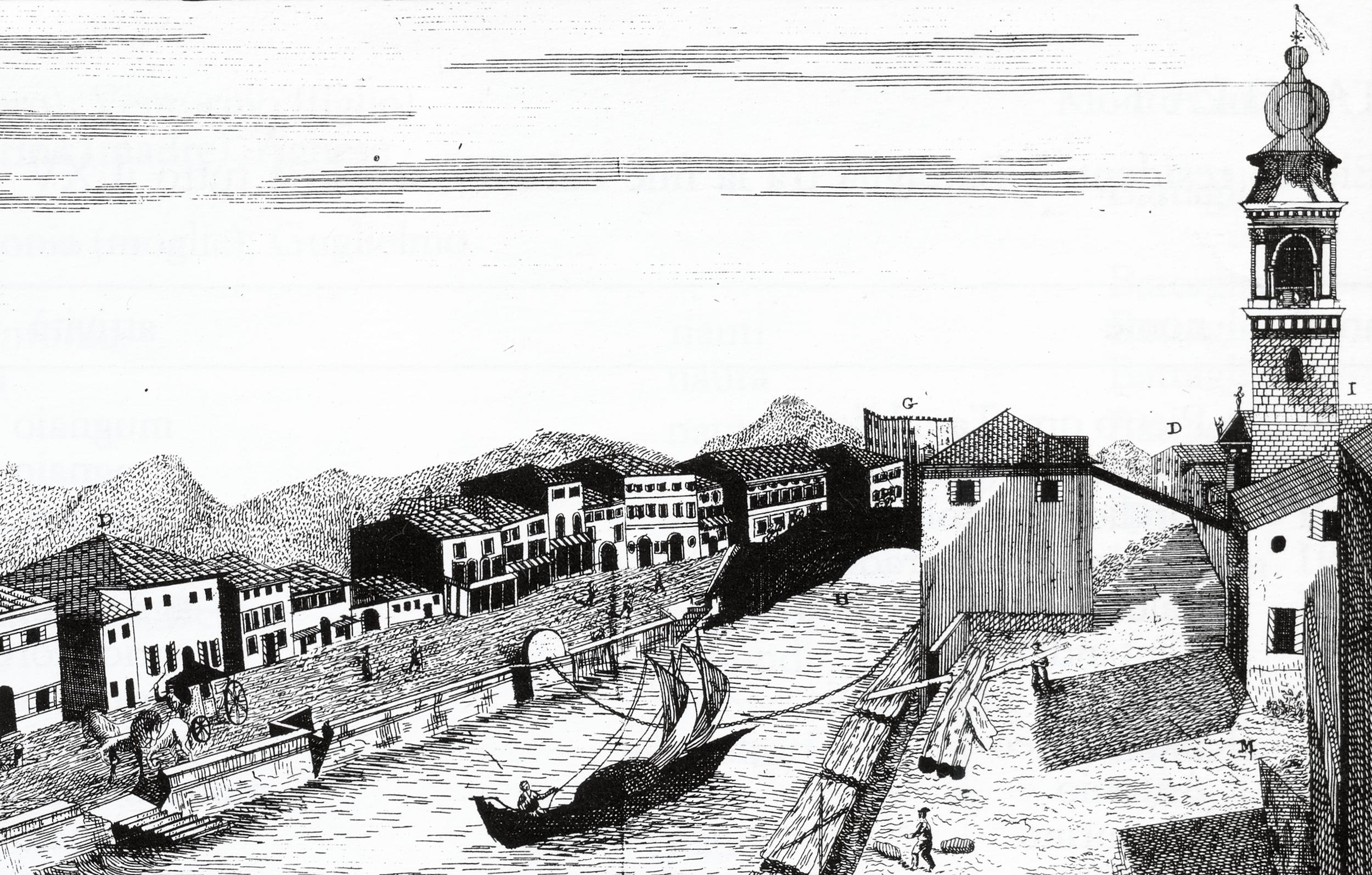 La prima palada di Battaglia in una stampa del 1796 (particolare).