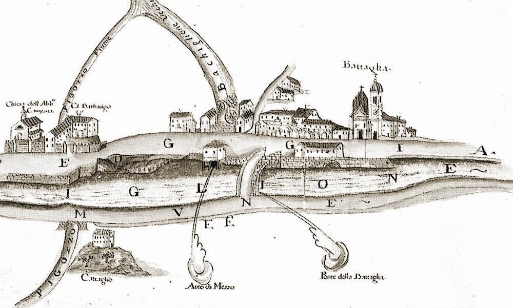 Canale di Battaglia. Disegno acquerellato di P. Brandolese del 1740.