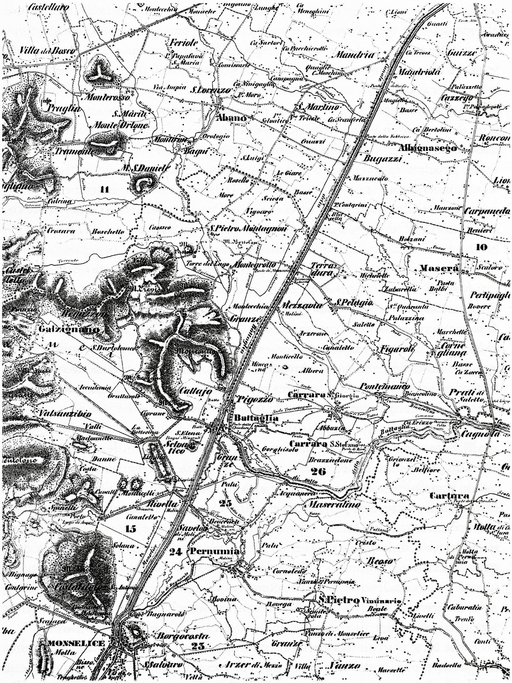 Il margine orientale degli Euganei, carta del 1862.
