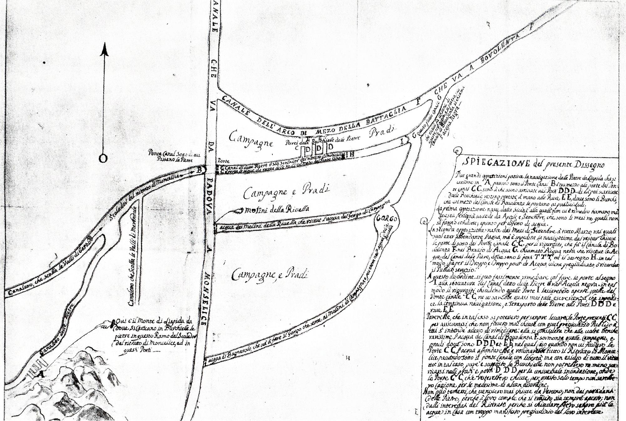 Il sistema idrografico del territorio a sud di Battaglia in un disegno del 1725.