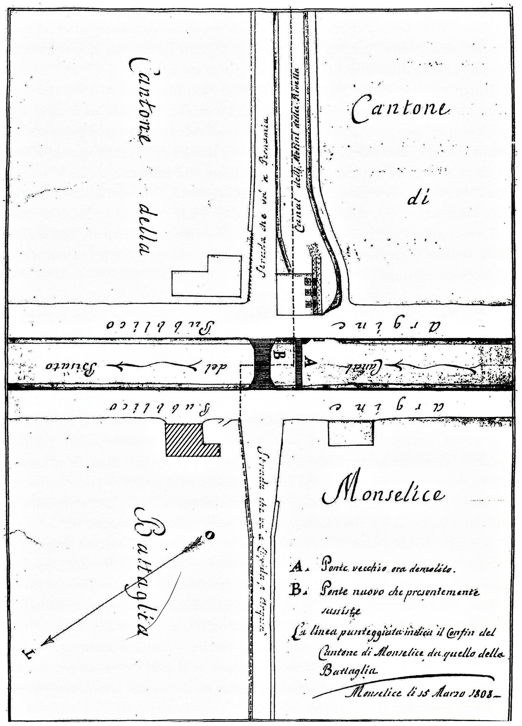 Il ponte di Rivella nel 1808 e l'abitazione dei riscossori della palada (indicata con il tratteggio).