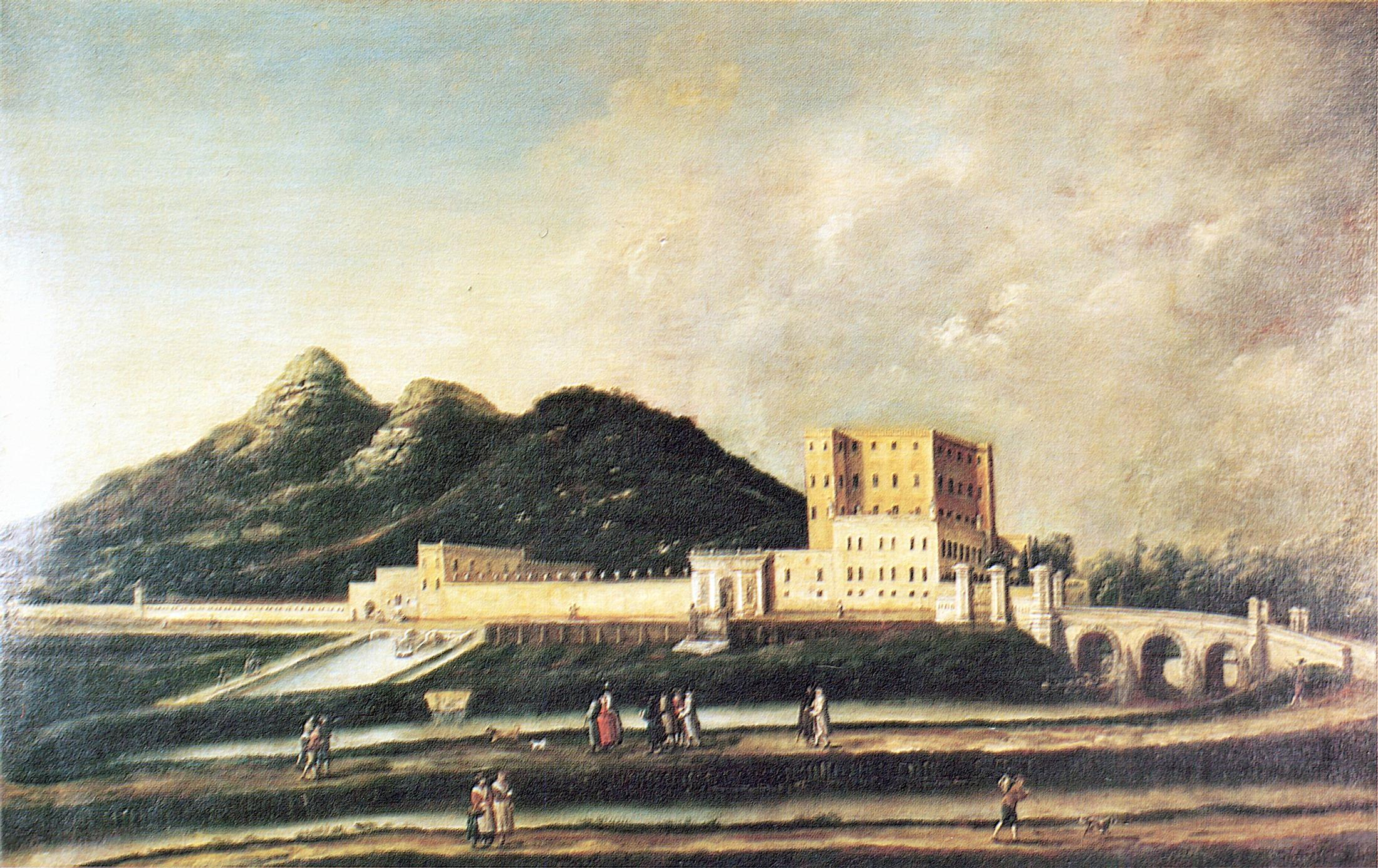 Villa del Cataio. Olio su tela, scuola veneta sec. XVIII, Battaglia.