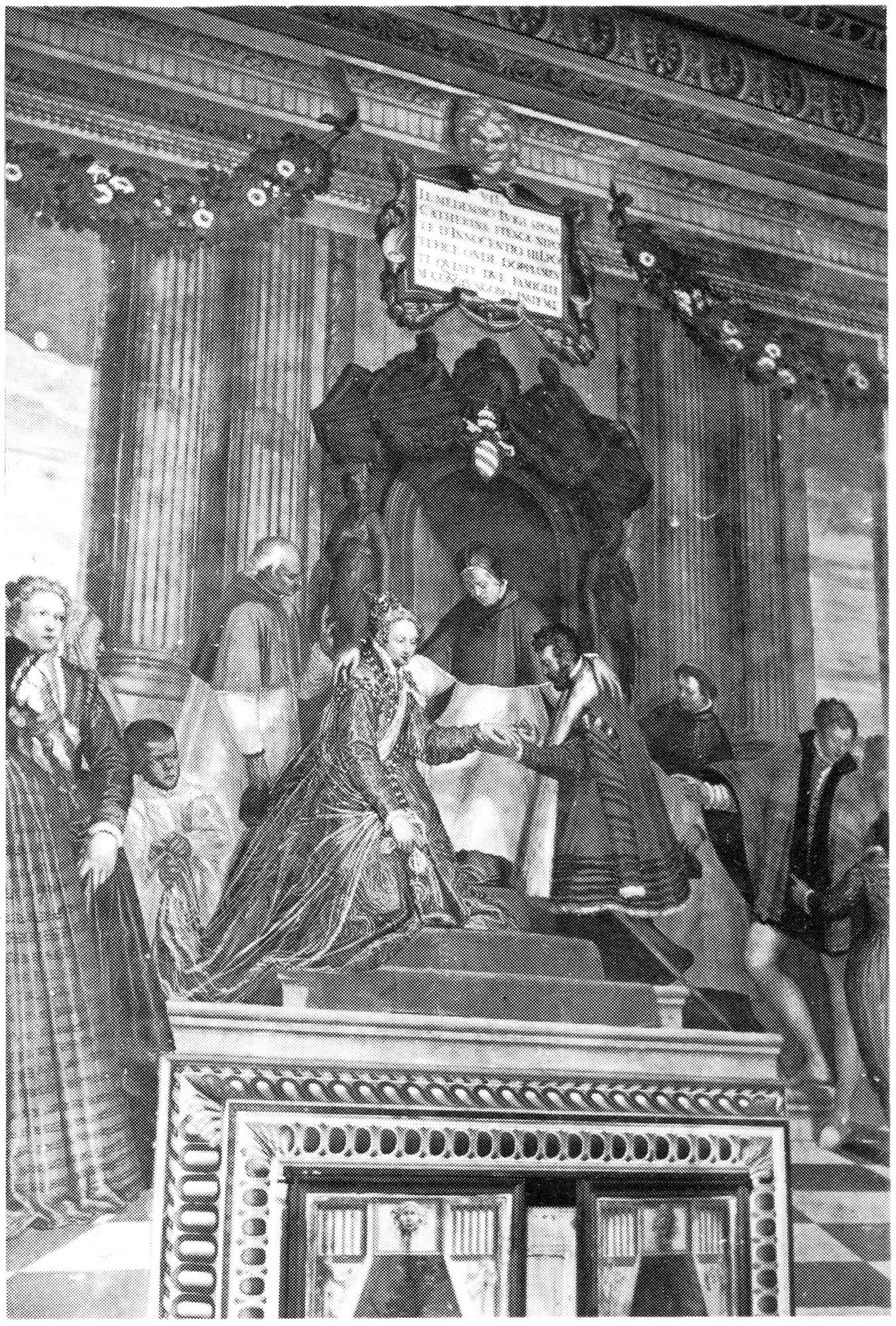 Luigi Obizzi sposa Caterina Fieschi innanzi a Papa Innocenzo IV Fieschi. L'affresco si trova nel Castello del Catajo, a Battaglia Terme.