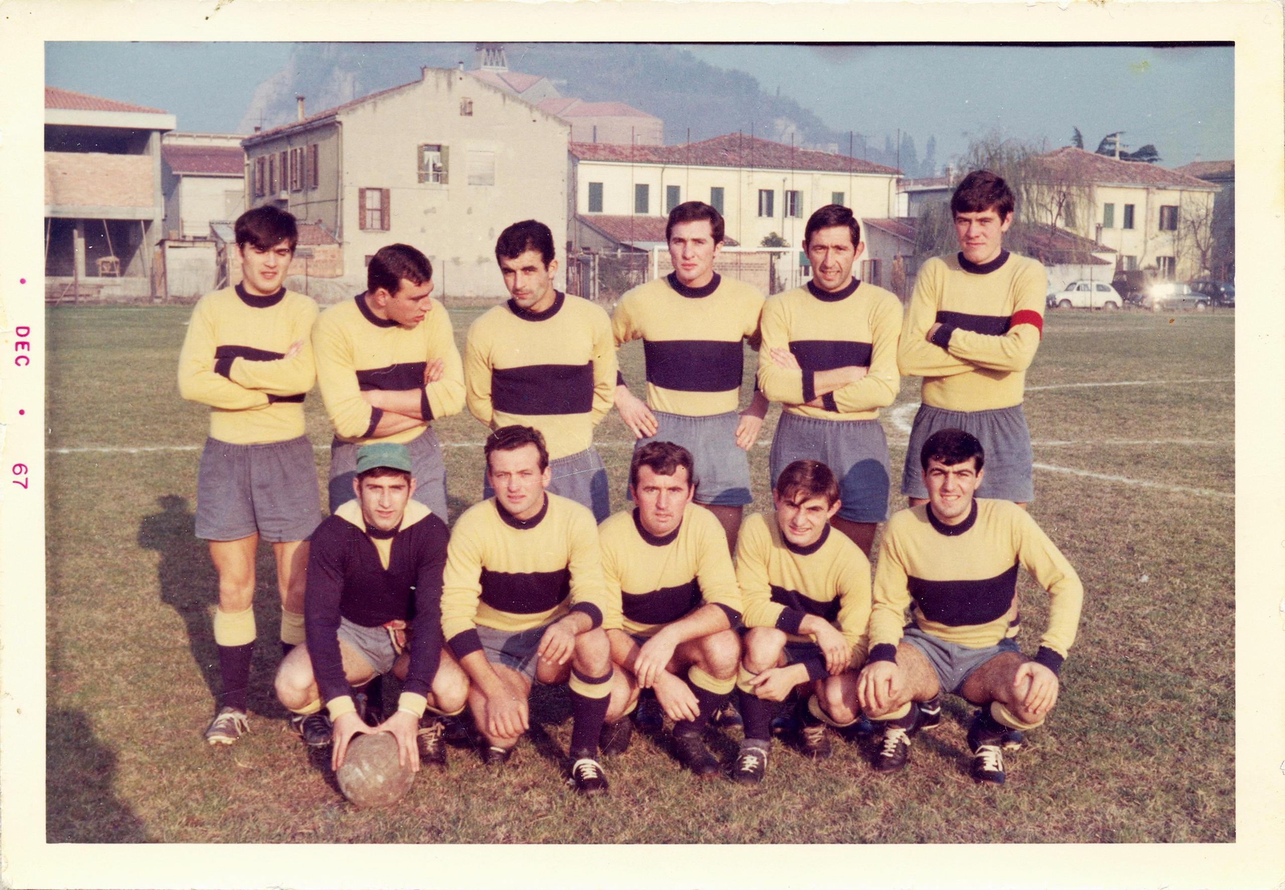 La formazione del Galileo Battaglia che il 3 dicembre 1967 ha vinto a Monselice per 1-0.