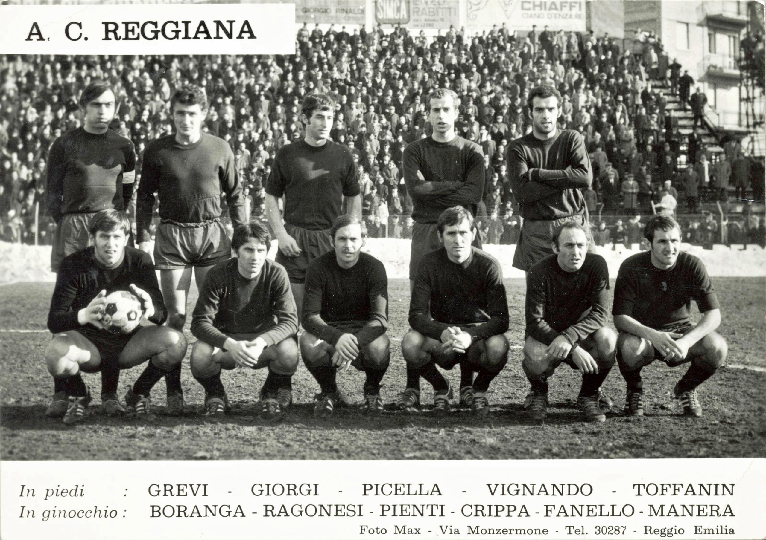 A.C. Reggiana 1968/69. Della rosa fa parte anche Antonio Toffanin, proveniente dal Galileo Battaglia.