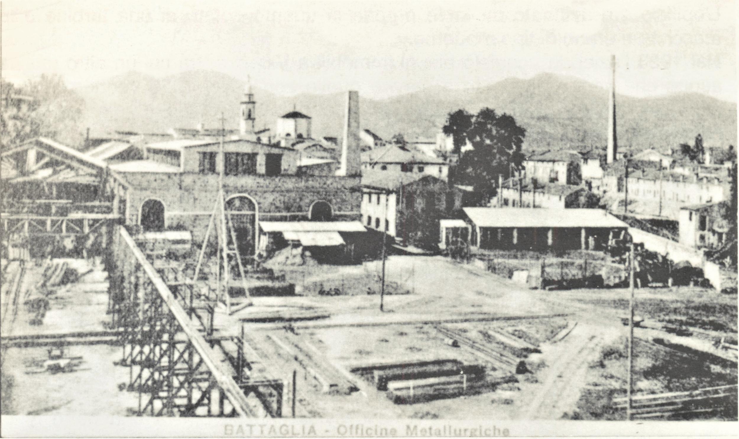 Le Officine di Battaglia in una cartolina degli anni '20.