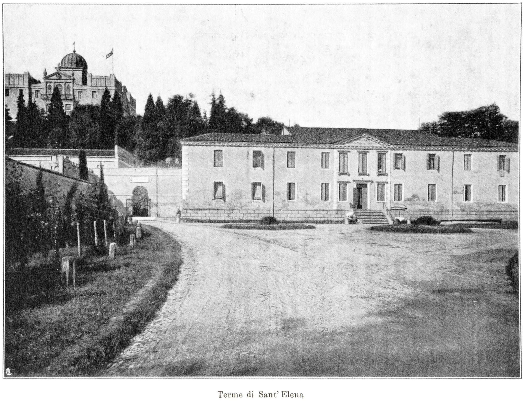 Le terme di Sant'Elena. Sullo sfondo, il Colle di Sant'Elena con la Villa Emo.