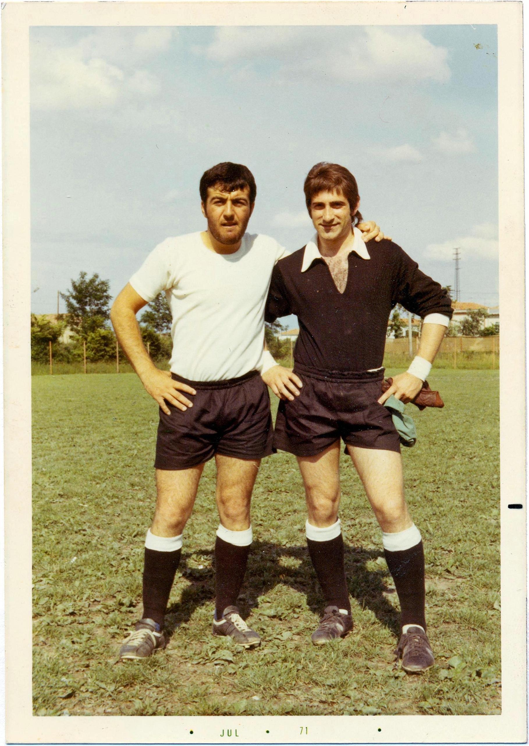1971, GS Galileo Battaglia: il terzino Bottaro Arrigo e il portiere Ceccato Federico.