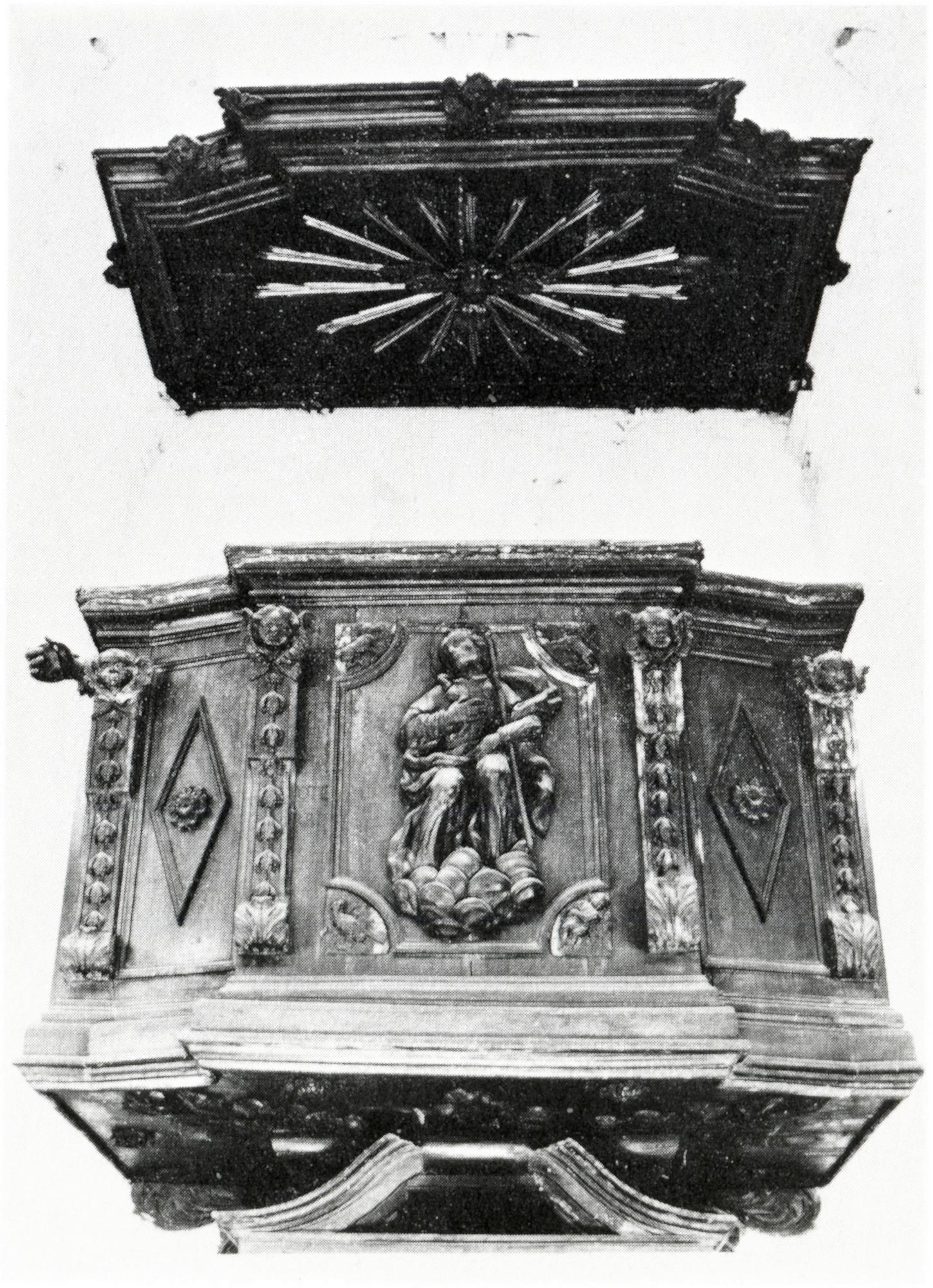Pulpito raffigurante S. Giacomo apostolo, vecchia chiesa di S. Giacomo, Battaglia Terme.