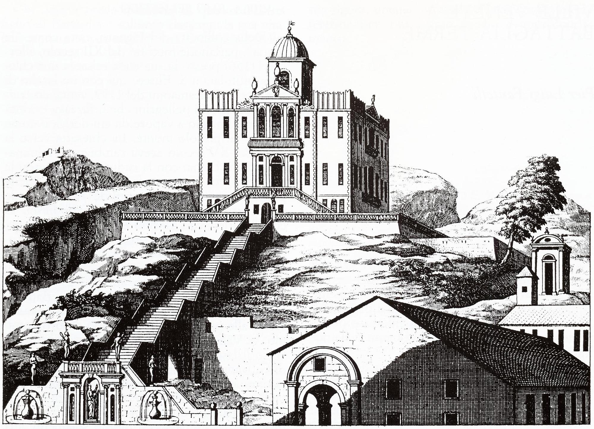Villa Selvatico con le pertinenze in primo piano e l'attiguo oratorio, in una incisione del Montalegre. Colle S. Elena (Battaglia), sec. XVIII.