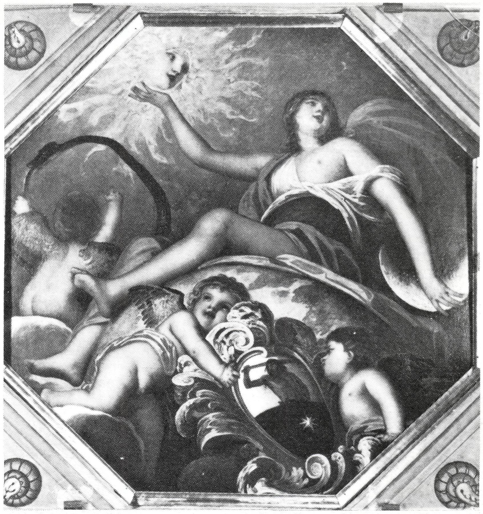 """Villa Selvatico, Battaglia Terme: """"La gloria di casa Selvatico"""", tela centrale del soffitto, attribuita ad Alessandro Varotari detto il Padovanino (1588-1648)."""