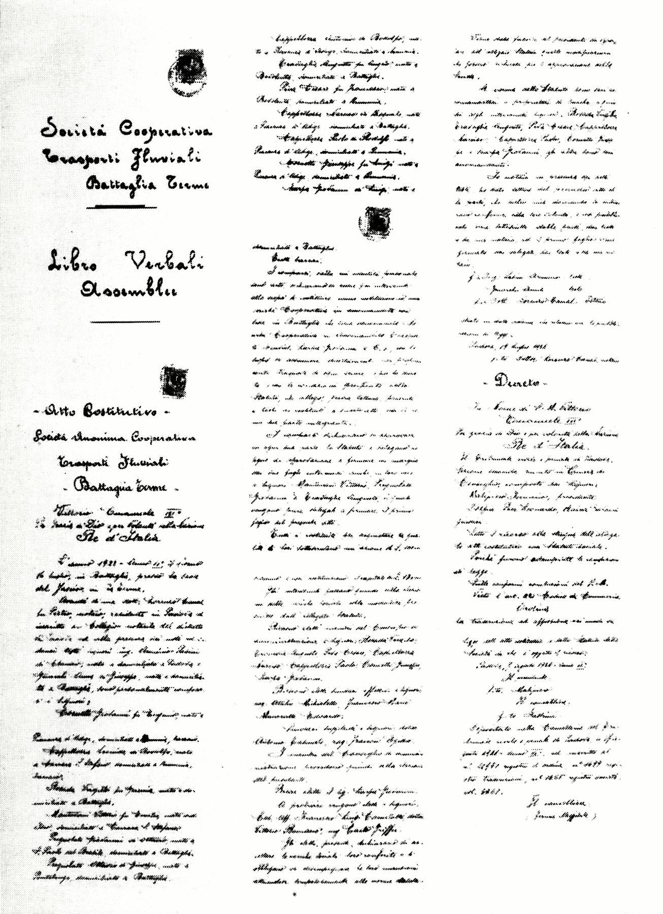 Copie Atto Costitutivo della Cooperativa Trasporti Fluviali G.Scarpa & C.