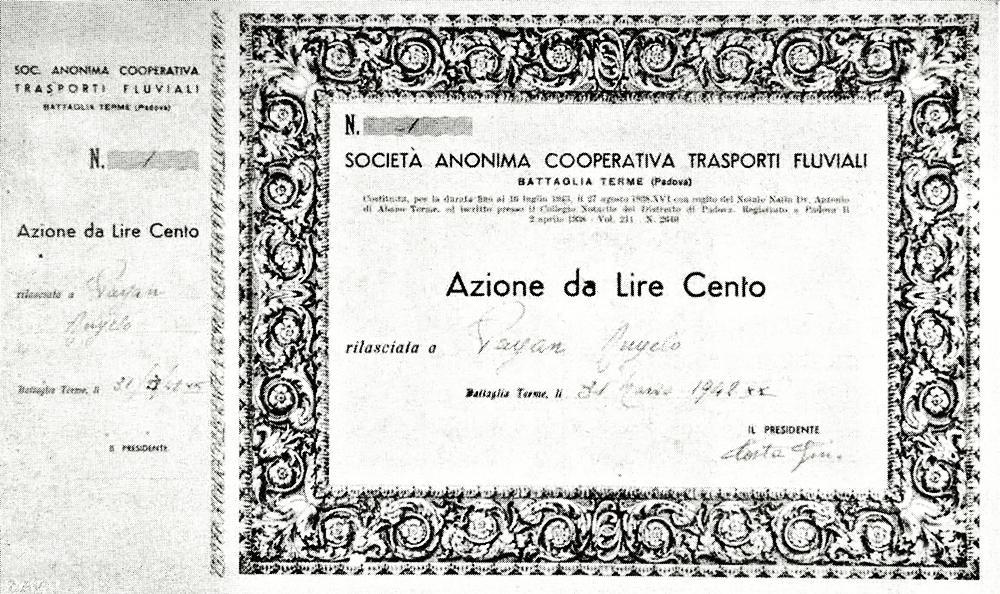 Azione della Società Anonima Cooperativa Trasporti Fluviali di Battaglia Terme.