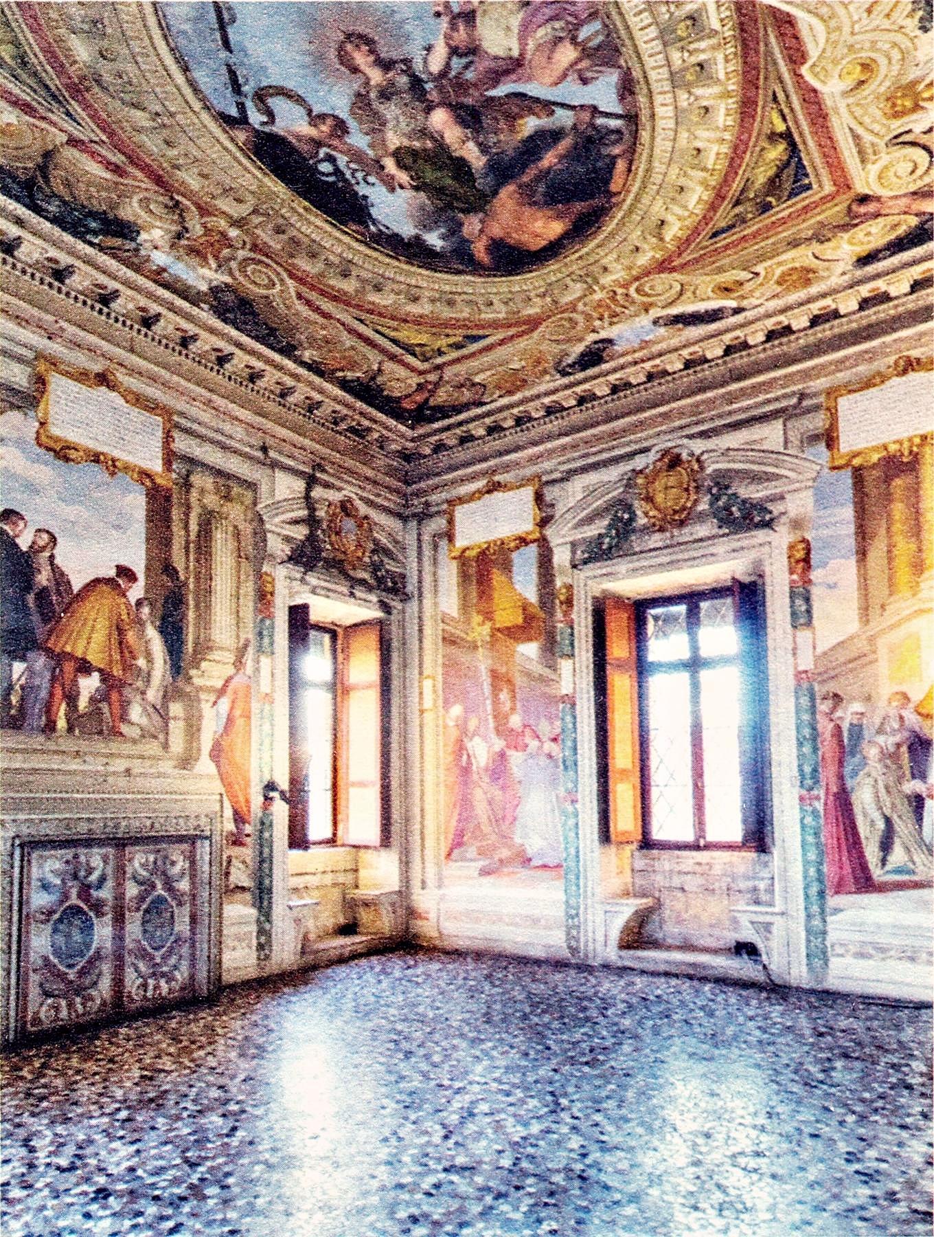 """La sala di Firenze, sul soffitto """"La Virtù che calpesta il Vizio"""". Castello del Catajo, Battaglia Terme."""