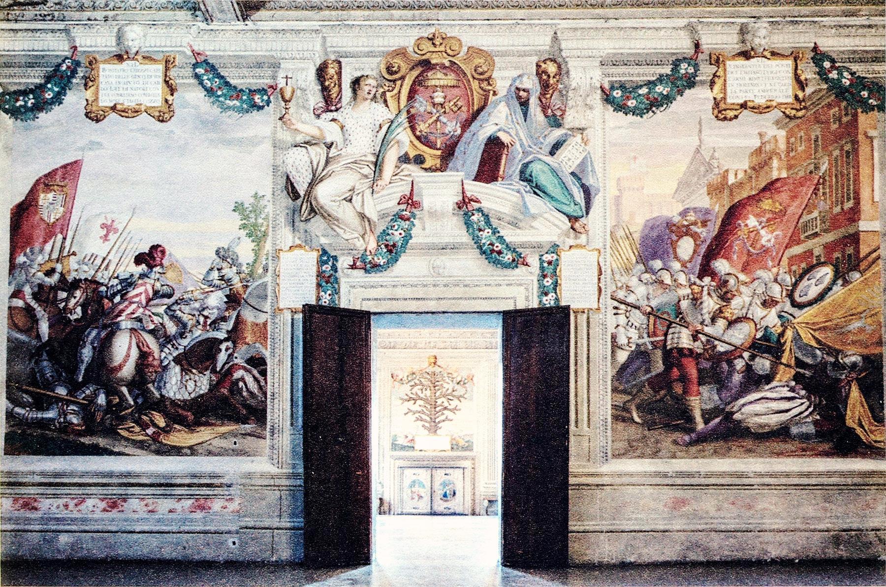 Camera del Papa, lo stemma con le chiavi papali. Castello del Catajo, Battaglia Terme.