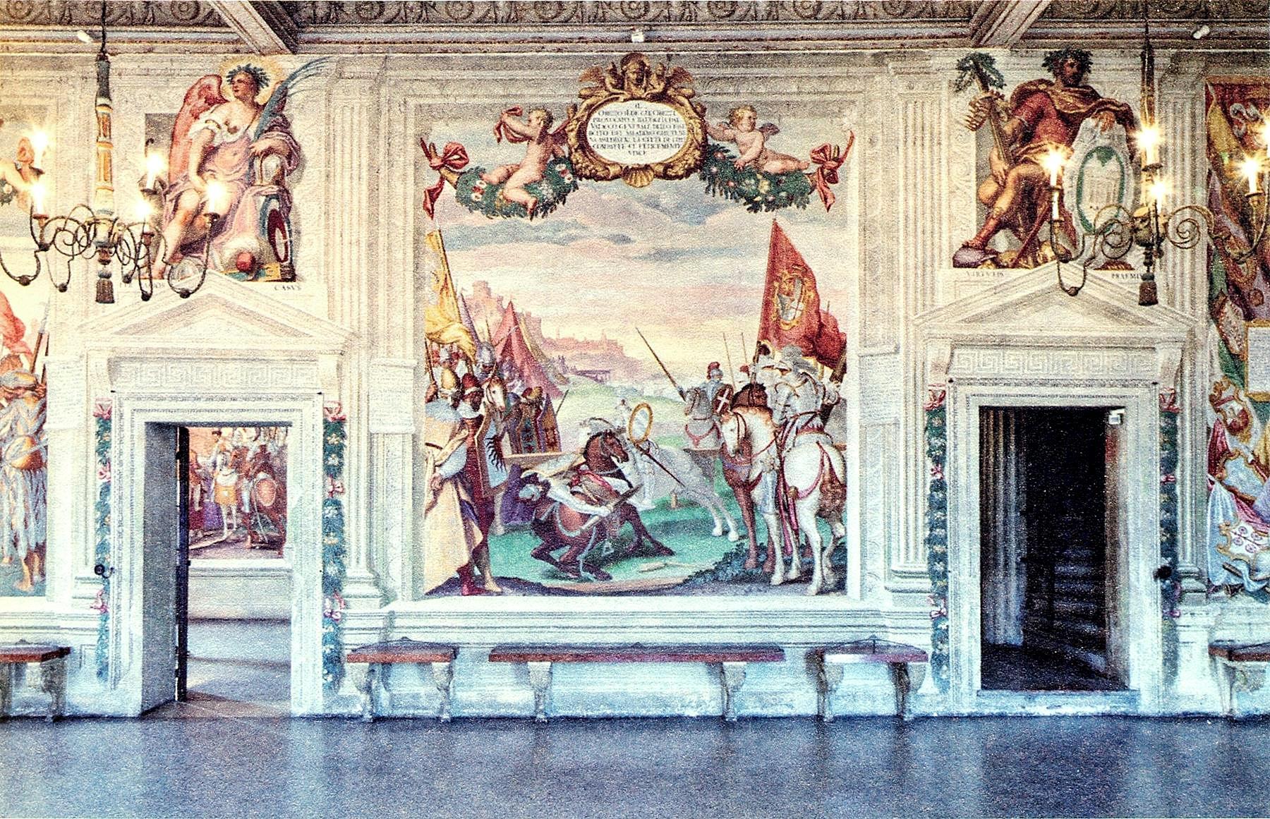 """L'affresco """"Obizzo sconfigge il luogotenente del Saladino, Zisino"""", che si trova nel salone dell'albero genealogico, nel Castello del Catajo."""