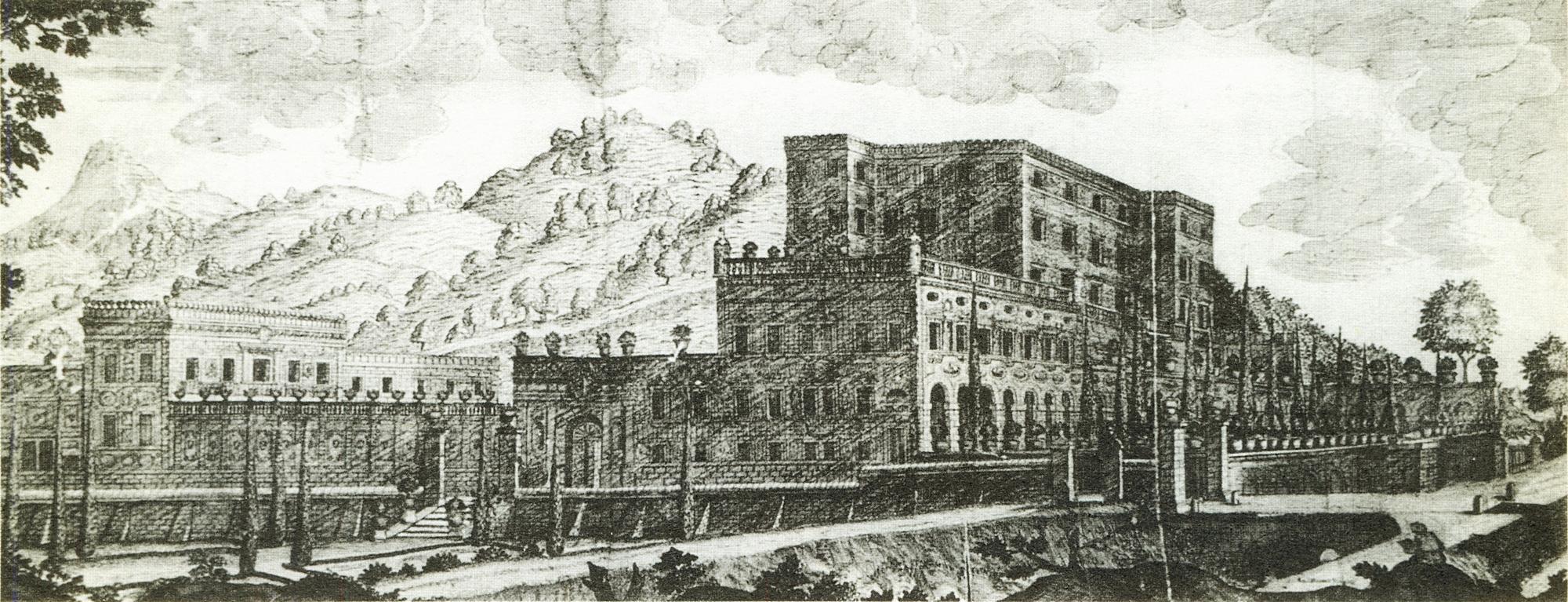 Il Castello del Catajo, iniziato da Pio Enea I Obizzi, in una stampa pubblicata nel 1669.