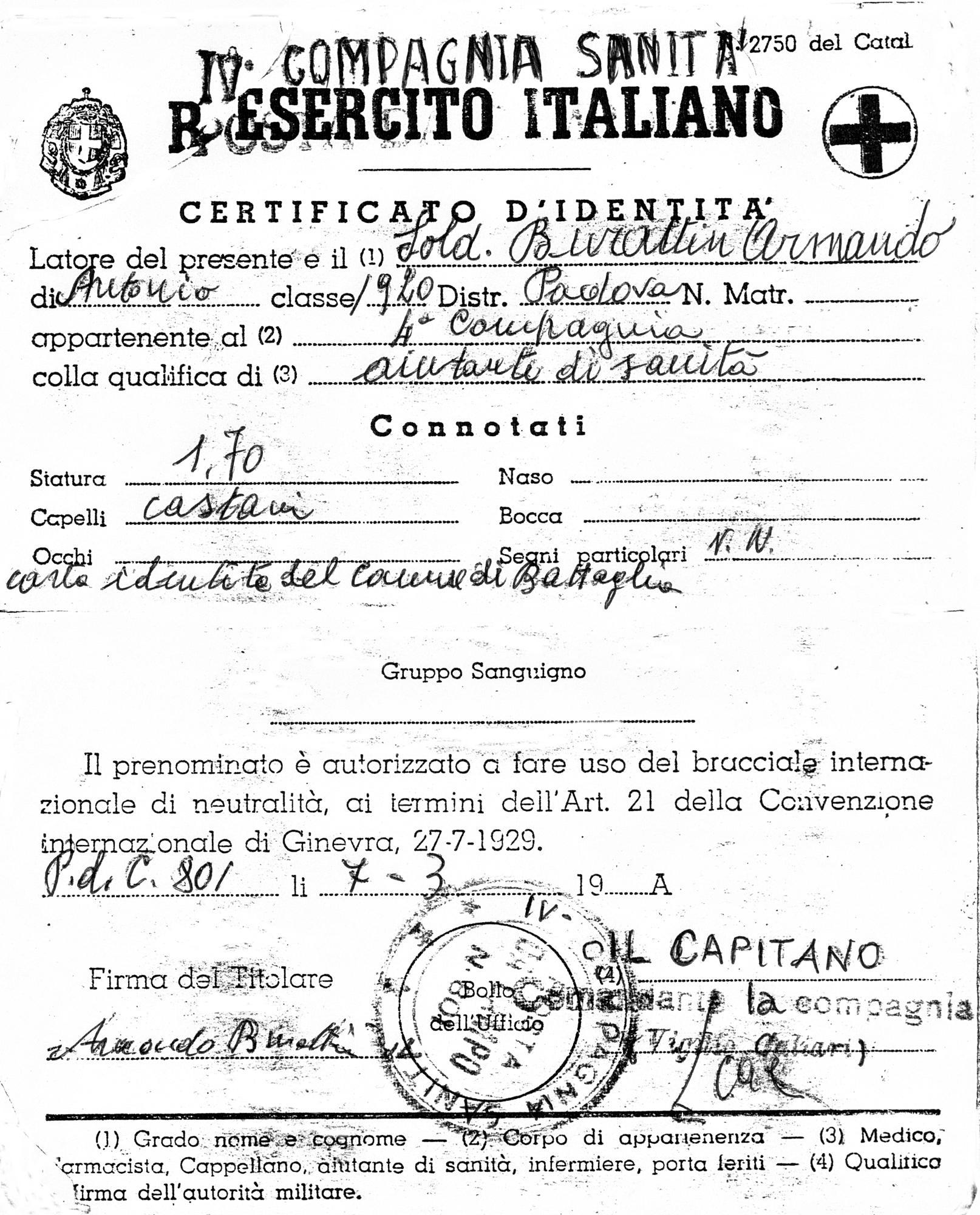 Certificato d'identità rilasciato a Burattin Armando.