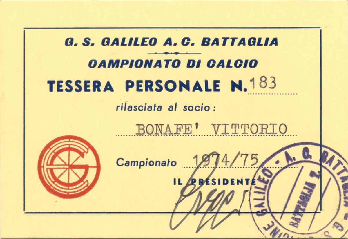 1974/75, tessera G.S. Galileo (fronte).