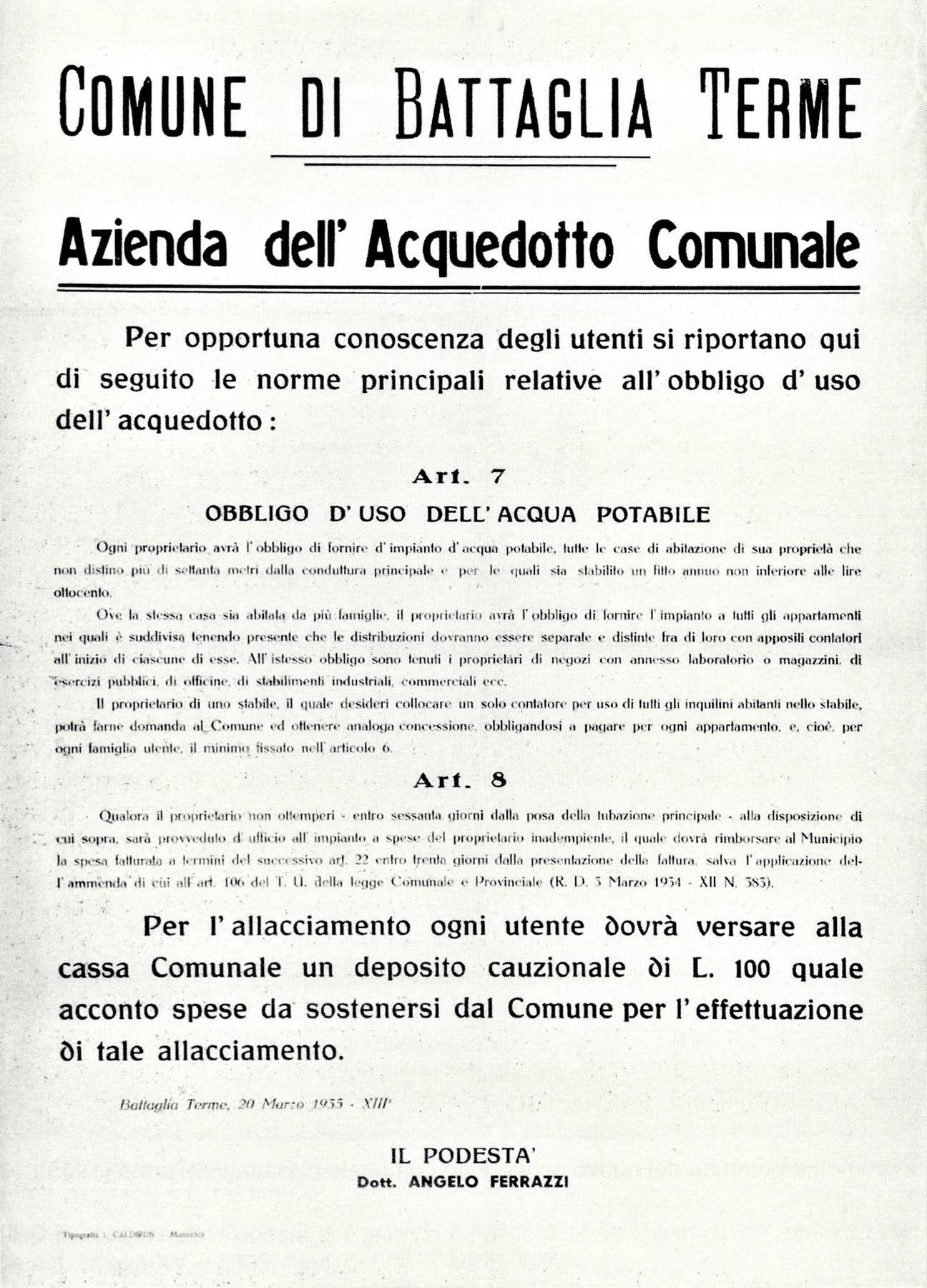 Azienda dell'Acquedotto comunale di Battaglia Terme, manifesto (1935).