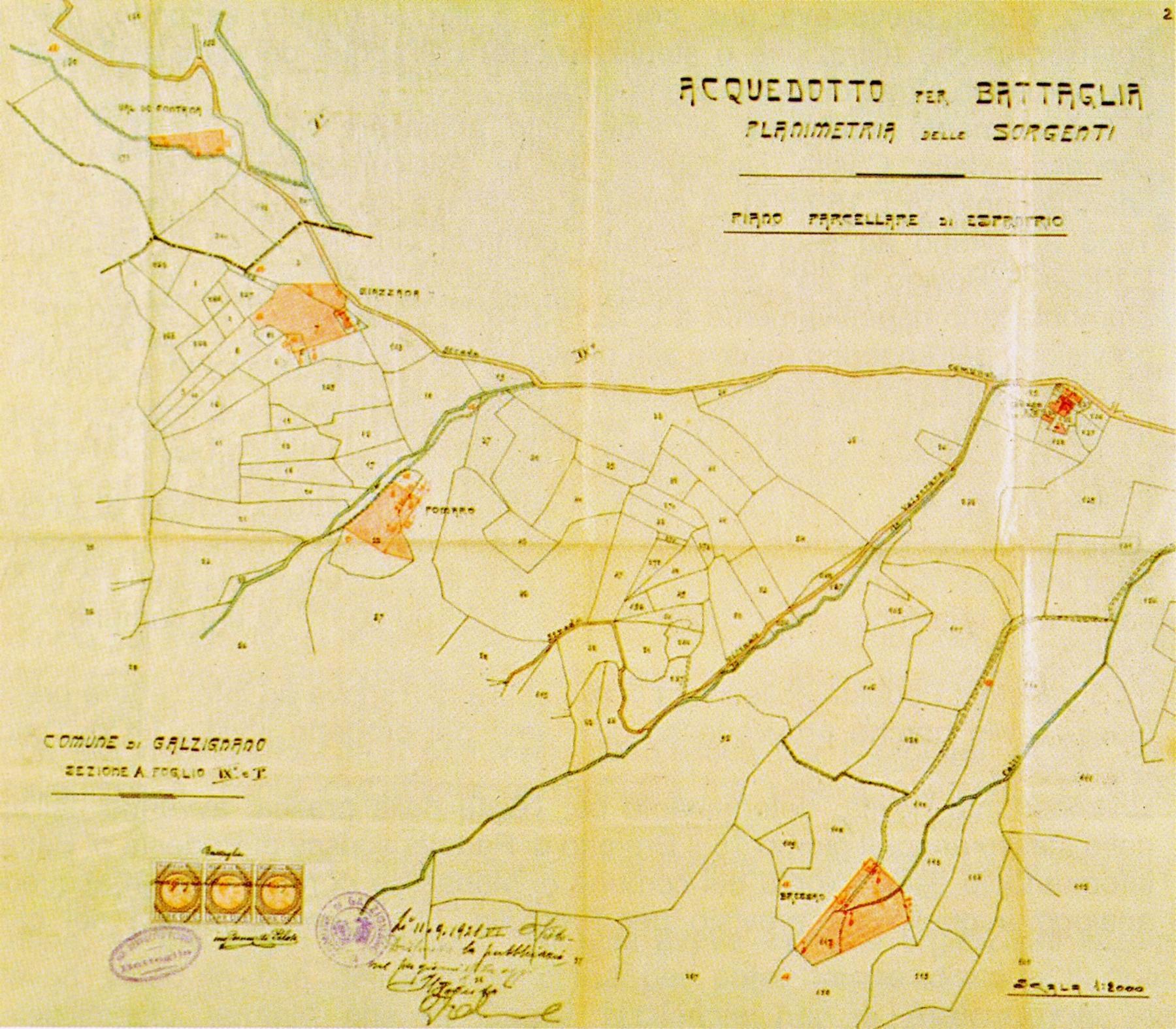 Progetto di acquedotto comunale del 6 luglio 1921. Nella planimetria sono evidenziate le sorgenti individuate.