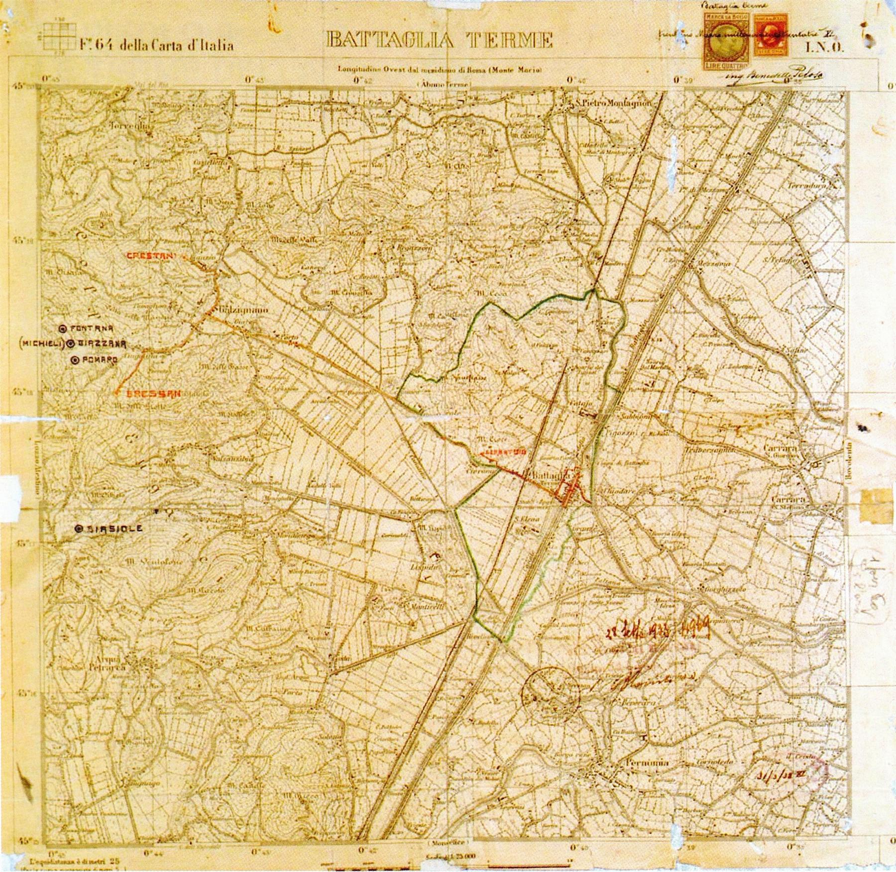 Nuovo acquedotto comunale di Battaglia Terme, planimetria generale (1935).