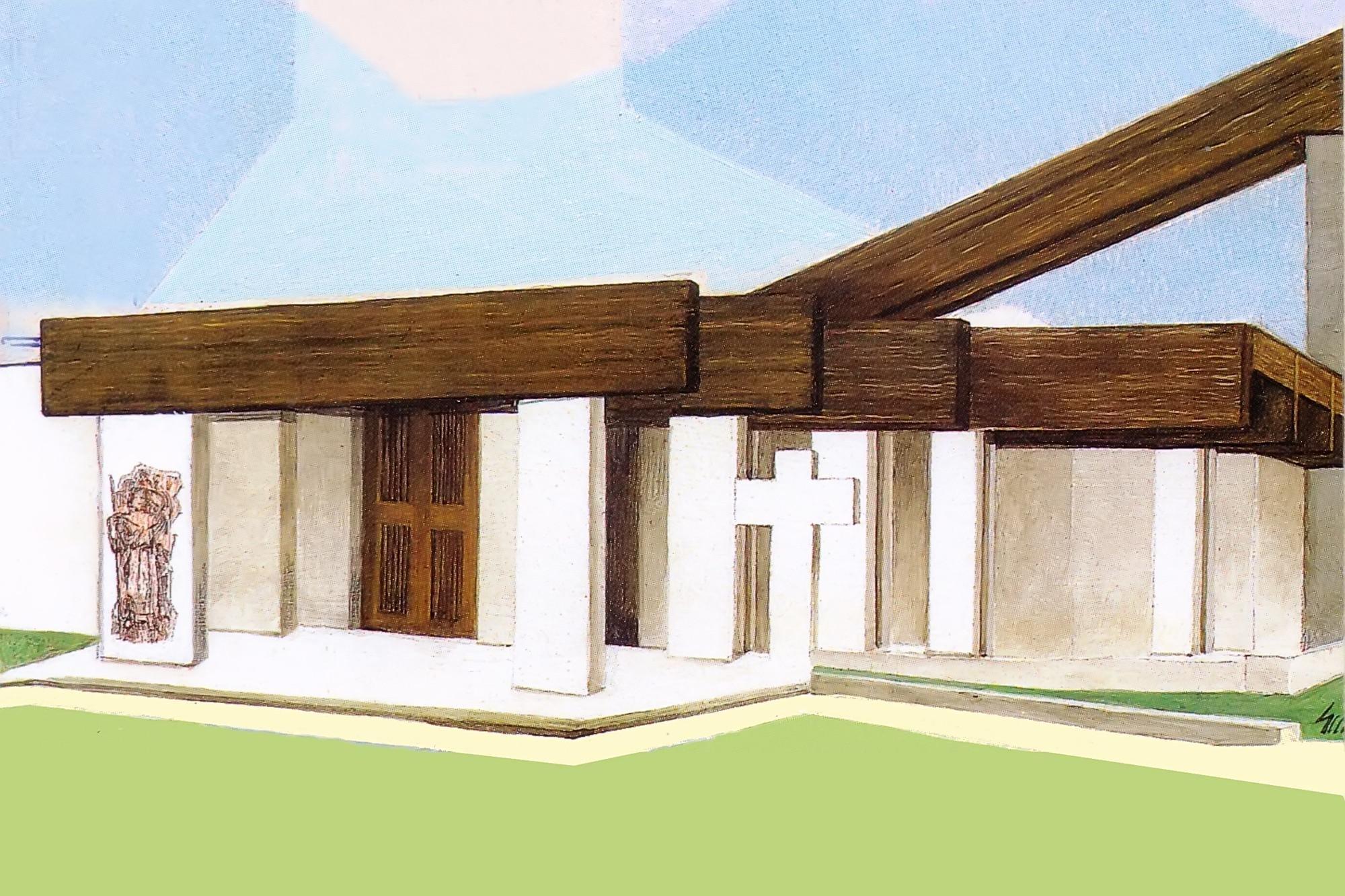 Facciata della nuova Chiesa parrocchiale di Battaglia Terme. Disegno di Giampaolo Milani.