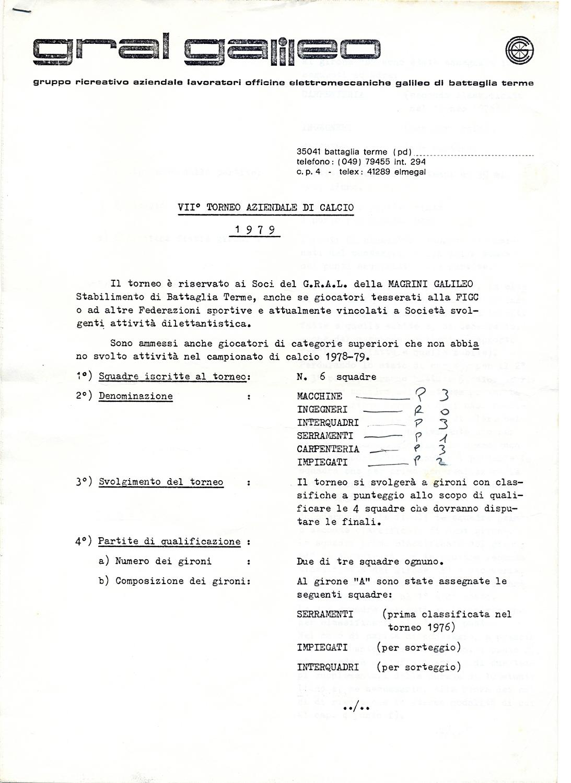 Torneo aziendale di calcio Magrini Galileo 1979, regolamento (1).
