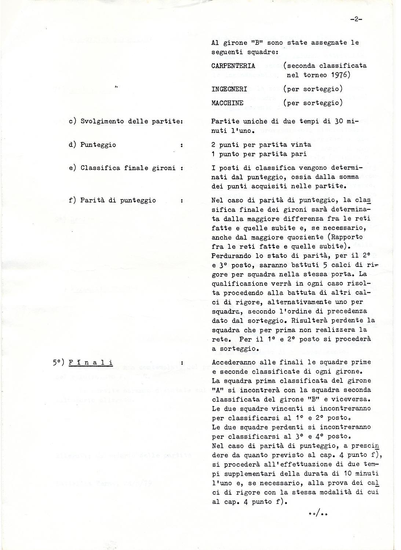 Torneo aziendale di calcio Magrini Galileo 1979, regolamento (2).
