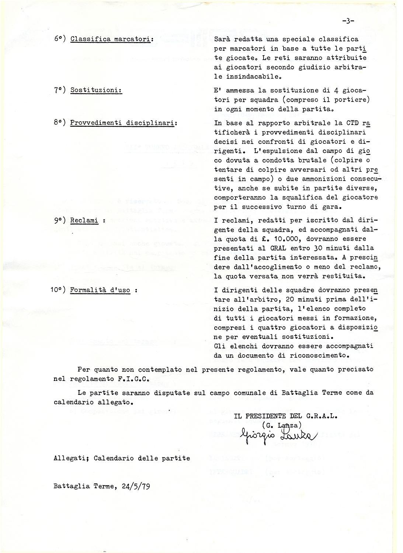 Torneo aziendale di calcio Magrini Galileo 1979, regolamento (3).