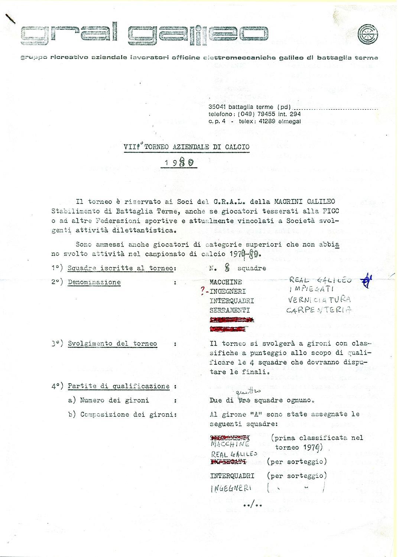 Torneo aziendale di calcio Magrini Galileo 1980, regolamento (1).