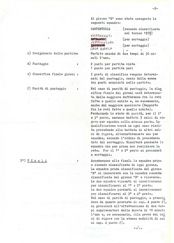 Torneo aziendale di calcio Magrini Galileo 1980, regolamento (2).