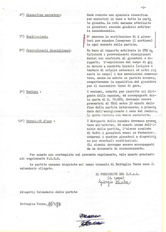 Torneo aziendale di calcio Magrini Galileo 1980, regolamento (3).